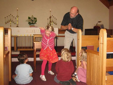 Acting out the Bible stories...